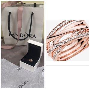 Pandora NEW Rose Gold Sparkling Polish Lines Ring